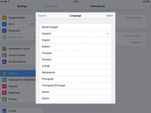 change language spanish