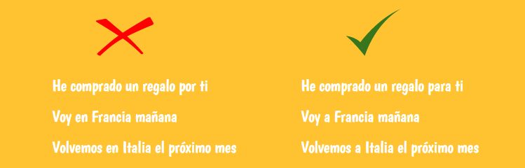 common mistkes in spanish using prepositions