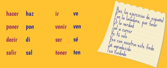imperativo afirmativo verbos irregulares tú